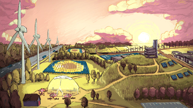 Illustratie van hoe het nieuwe energielandschap bij Nijmegen, met zonnepark de grift, eruit zou kunnen zien.