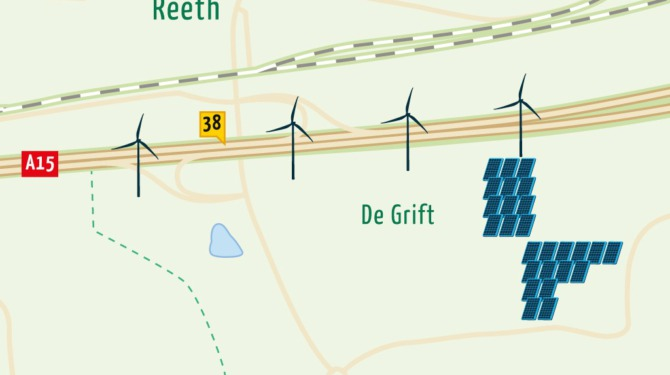 Plattegrond van Energielandschap De Grift met de locatie van windmolens en het zonnepark