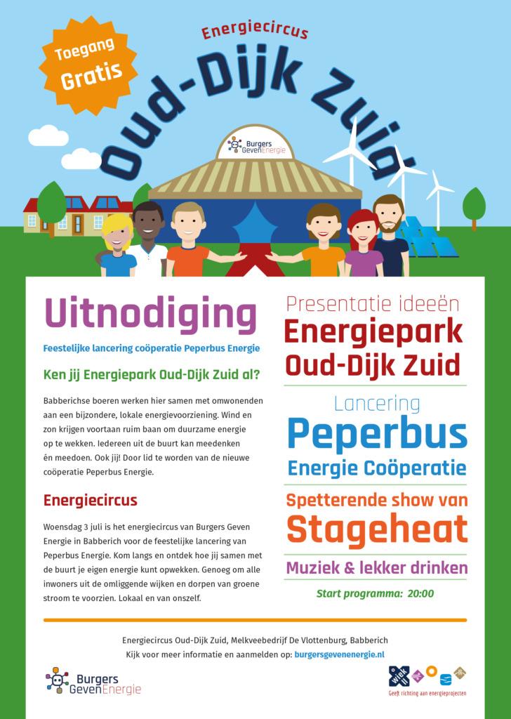 Uitnodiging en programma van Energiecircus Oud-Dijk Zuid op 3 juli 2019