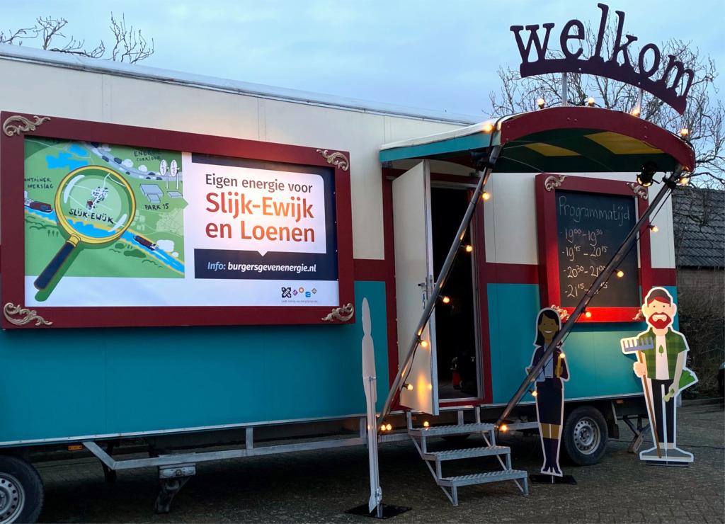 De theaterwagen in Slijk-Ewijk bij dorpshuis Beatrix